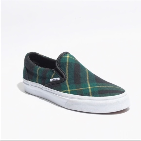Madewell Green Plaid Slip Ons Size